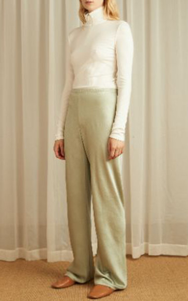Vince Crushed Satin Wide-Leg Pants in grey