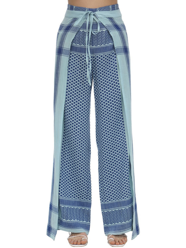 CECILIE COPENHAGEN Hella Cotton Wrap Pants in blue