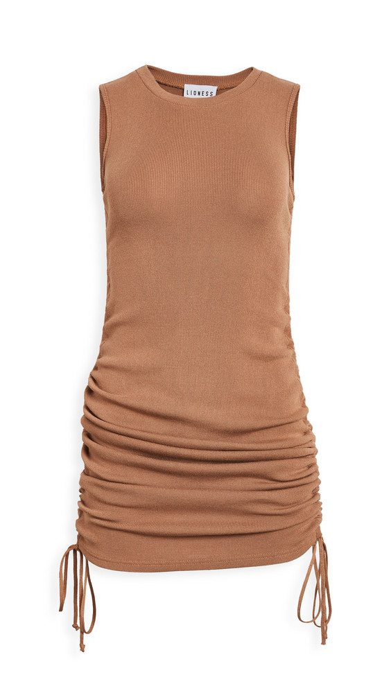 Lioness Military Minds Mini Dress in camel