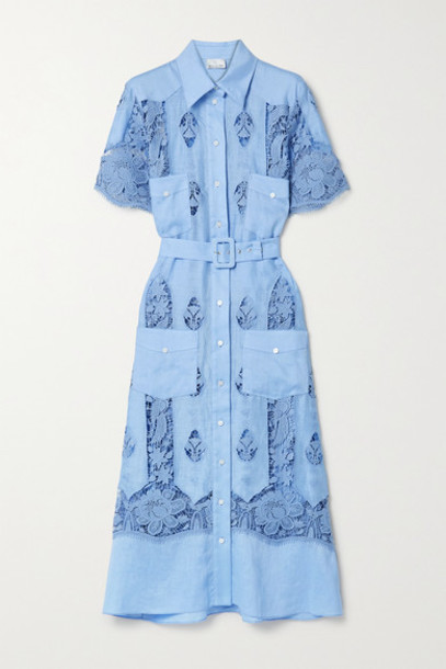 Miguelina - Berly Crochet-trimmed Linen Midi Shirt Dress - Light blue