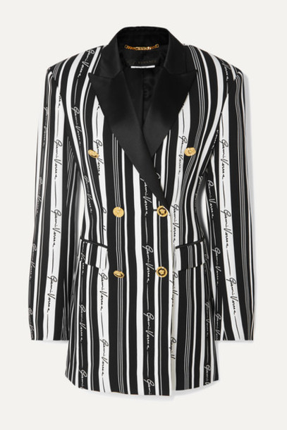 Versace - Double-breasted Striped Crepe Mini Dress - Black