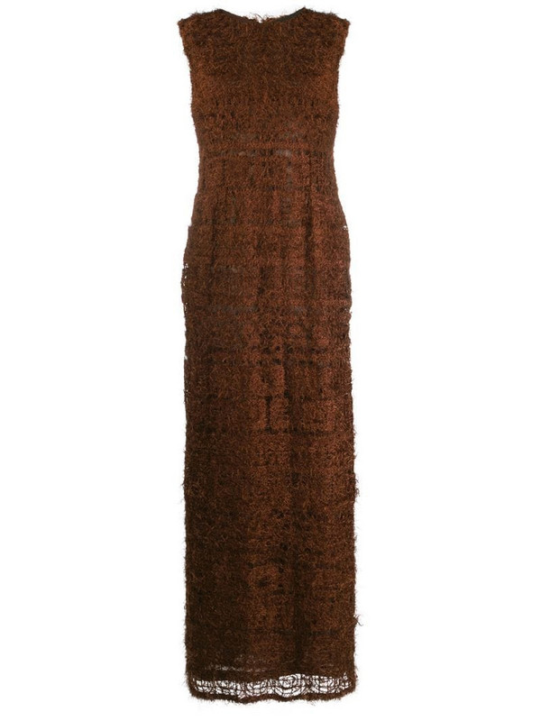 Jean Louis Scherrer Pre-Owned 1990s textured maxi dress in brown