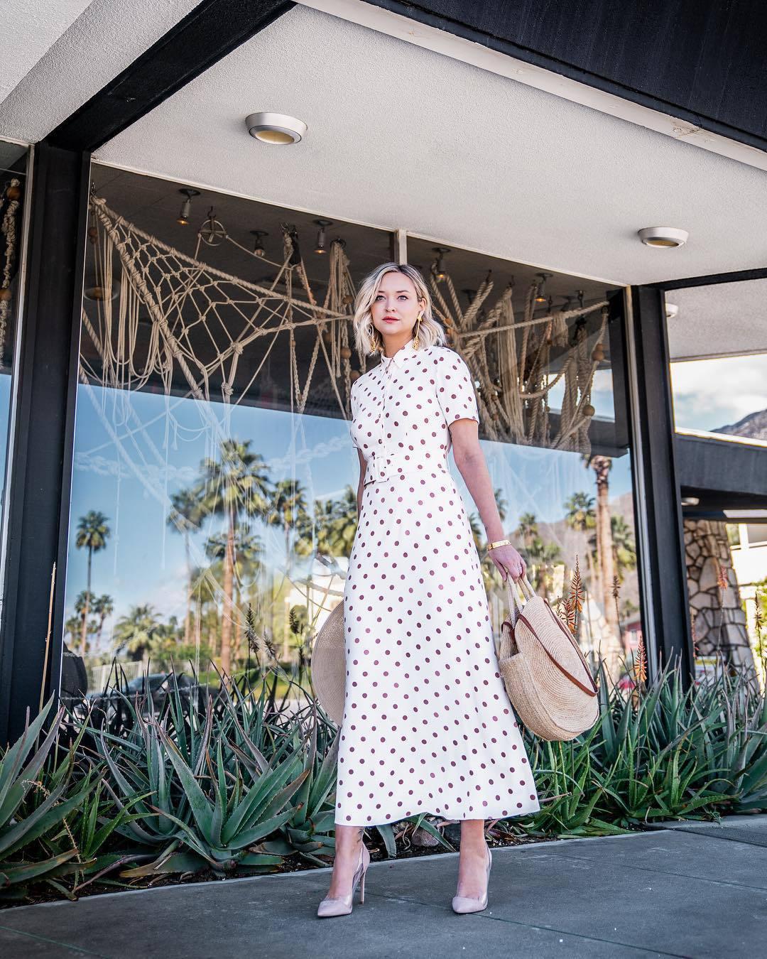 dress maxi dress white dress polka dots pumps shoulder bag hat