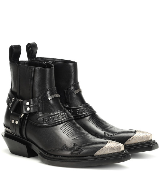 Balenciaga Santiag Harness leather ankle boots in black