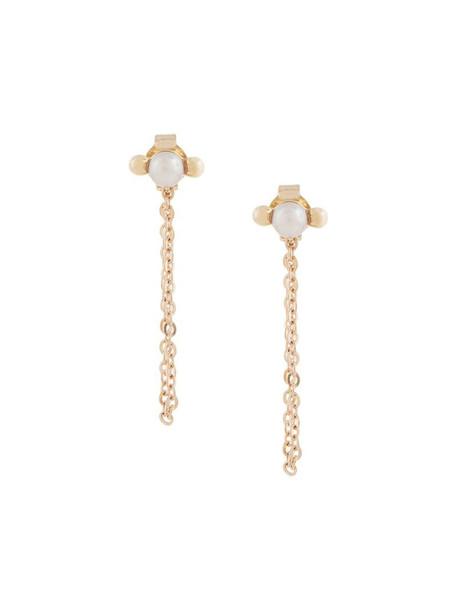 Karen Walker Vermeer Pearl earrings in gold