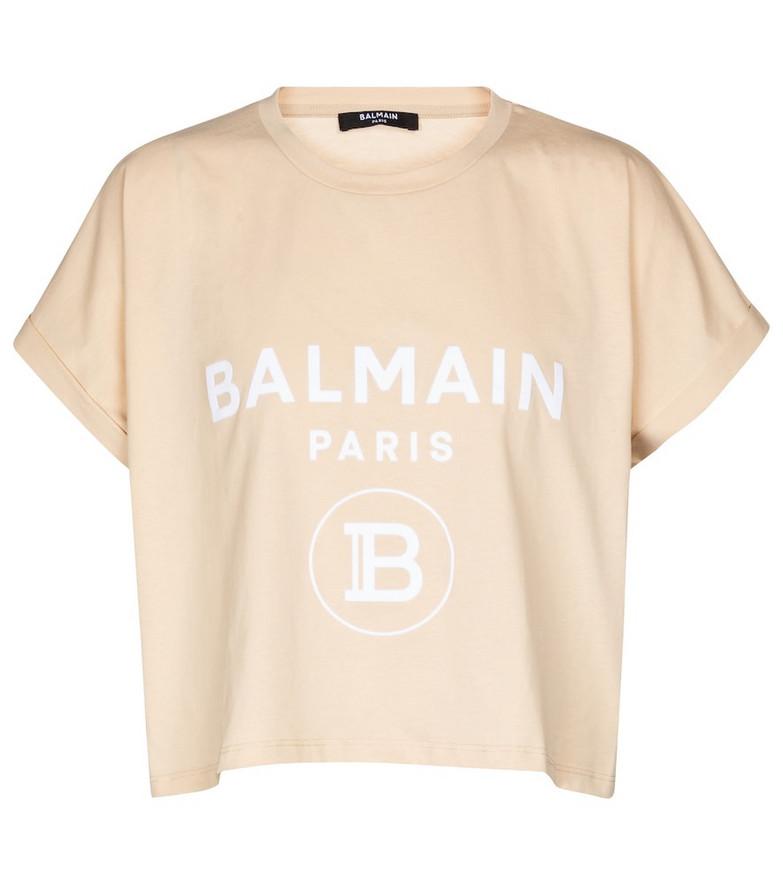 Balmain Exclusive to Mytheresa – Logo cotton jersey T-shirt in beige