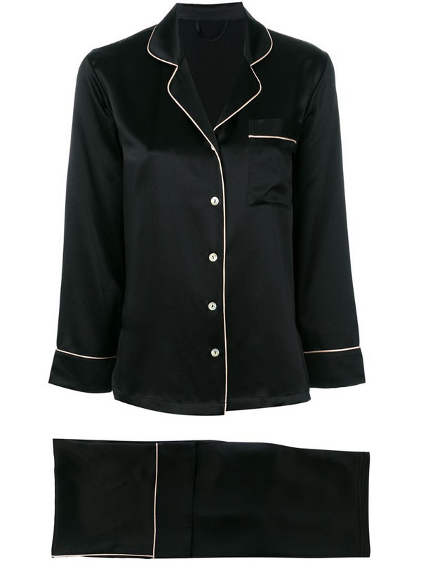 Fleur Of England piped pajama set in black