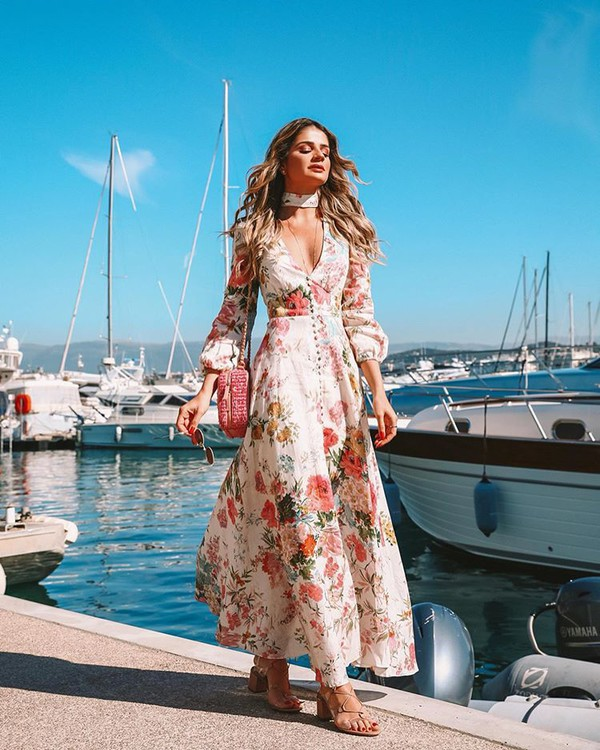 dress floral dress maxi dress long sleeve dress zimmermann sandal heels pink bag