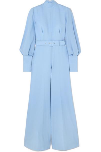 Emilia Wickstead - Elvis Belted Wool-crepe Jumpsuit - Light blue