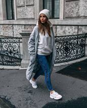 jeans,skinny jeans,white sneakers,long cardigan,grey cardigan,cable knit,white hoodie,beanie
