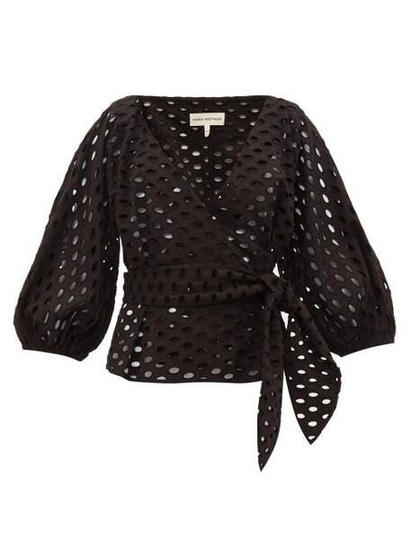 Mara Hoffman - Libby Broderie Anglaise Cotton Wrap Top - Womens - Black