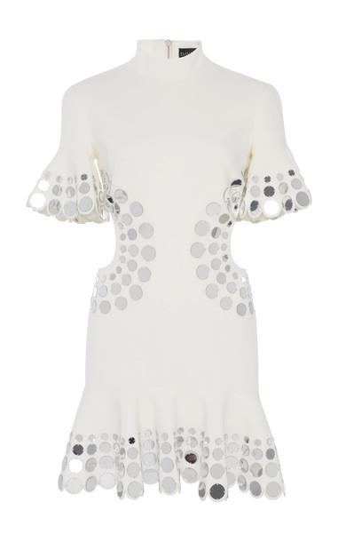 David Koma Embroidered Crepe De Chine Mock Neck Dress in white