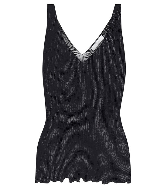 Chloé Ribbed-knit stretch-cotton tank top in blue