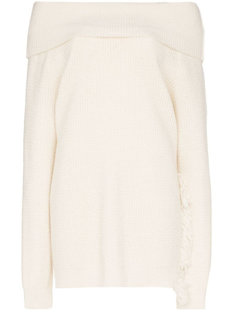 Stella McCartney off- the-shoulder fringe sweater in white