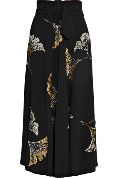 Dries Van Noten - Simiana Belted Sequin-embellished Crepe Midi Skirt - Black