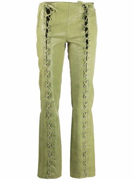 Saks Potts Christina lace-up leather trousers - Green