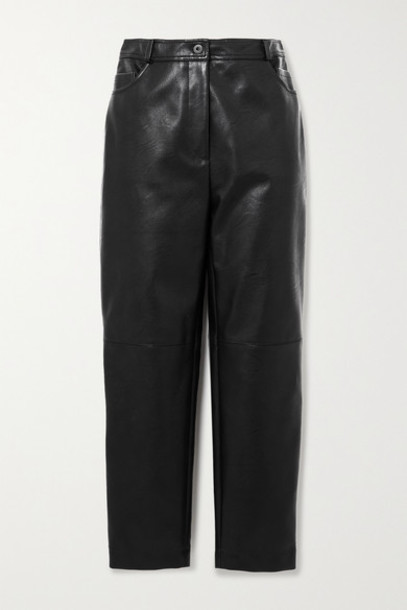 Stella McCartney - Net Sustain Hailey Vegetarian Leather Straight-leg Pants - Black