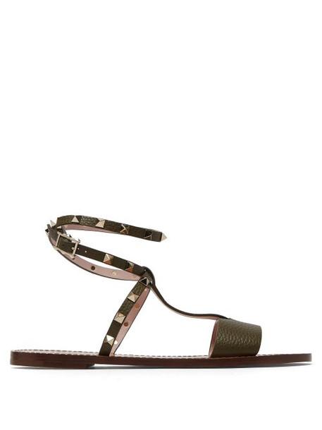 Valentino - Rockstud Ankle Strap Leather Sandals - Womens - Khaki