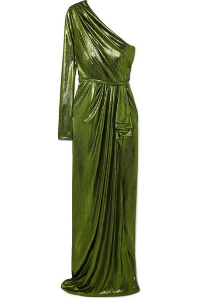 Ong-Oaj Pairam - Eris One-sleeve Draped Lamé Gown - Green