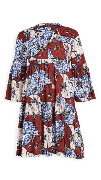 Warm Garden Dress in burgundy / multi