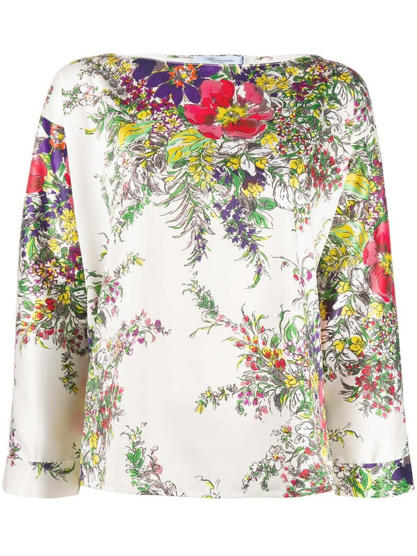 Blumarine floral blouse in green
