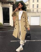 coat,trench coat,white sneakers,socks,tracksuit,white shirt,balenciaga,black bag