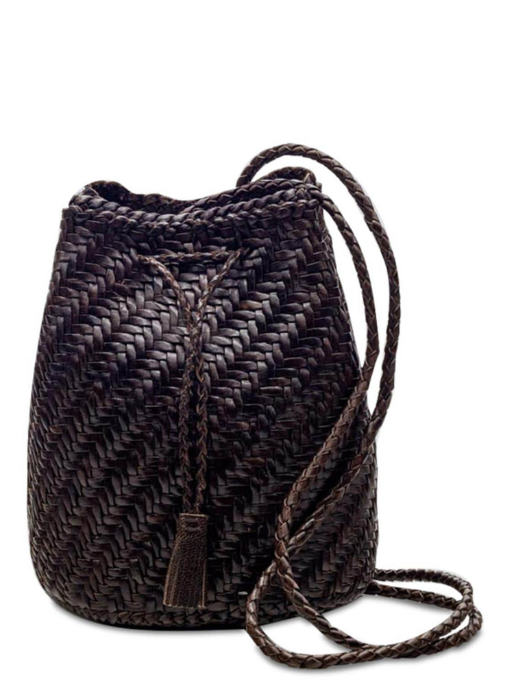 DRAGON DIFFUSION Pompom Doublej Woven Leather Basket Bag in brown