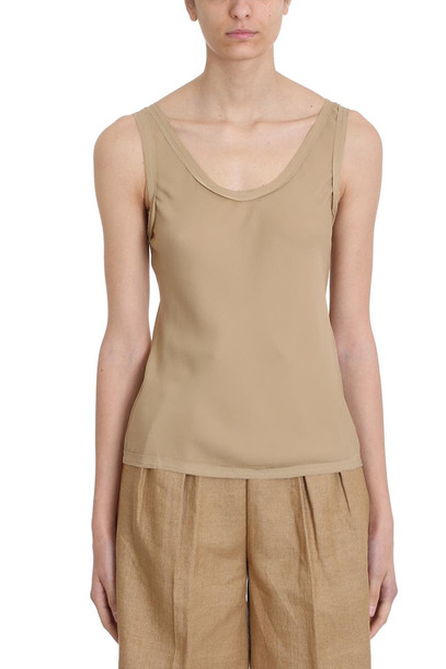Theory Sleeveless Round Neck Top in beige
