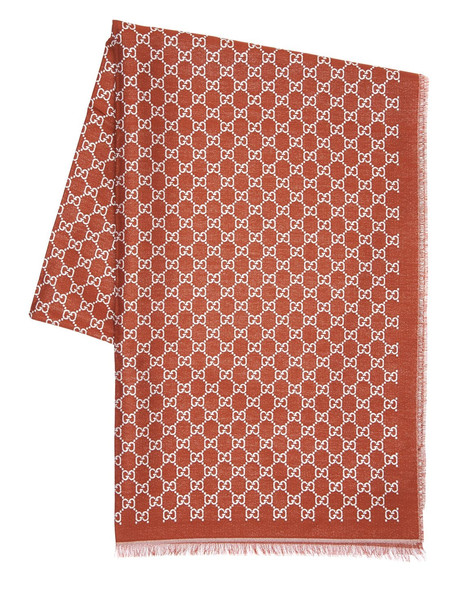 GUCCI Gg Cotton & Metal Scarf in brown