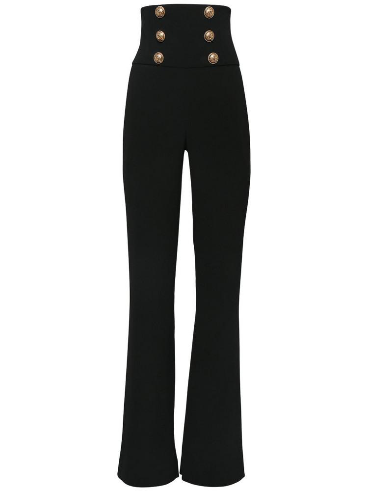 BALMAIN High Waist Viscose Wide Leg Pants in black