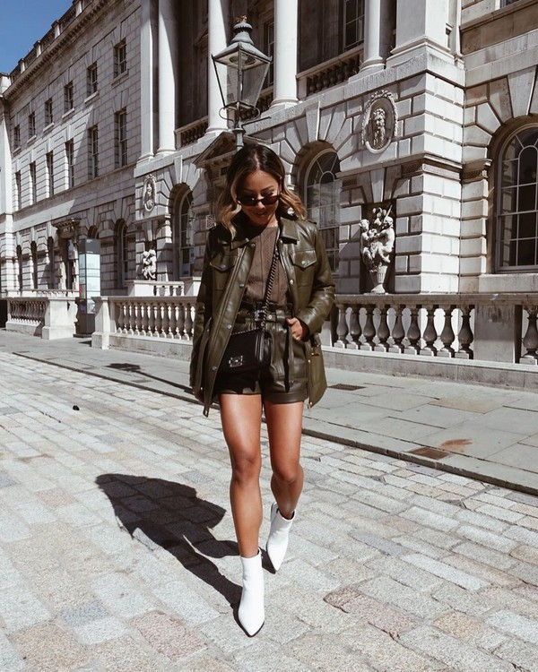 leather jacket High waisted shorts leather shorts river island white boots ankle boots shirt black bag