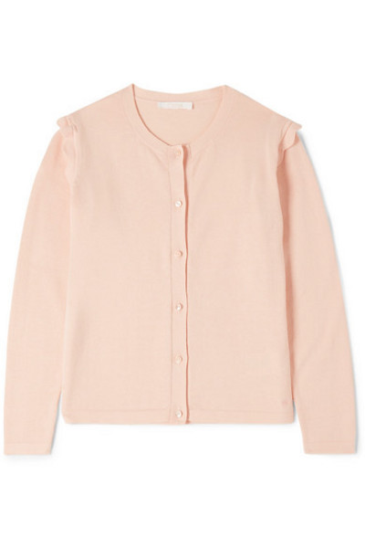 Chloé Kids - Ages 6 - 12 Scalloped Cotton Cardigan in pink