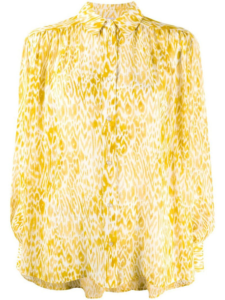 ANINE BING leopard print shirt in yellow