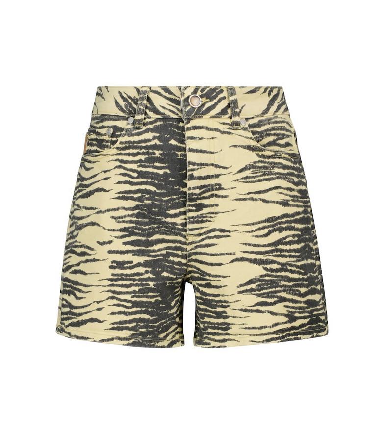GANNI Tiger-print denim shorts in black