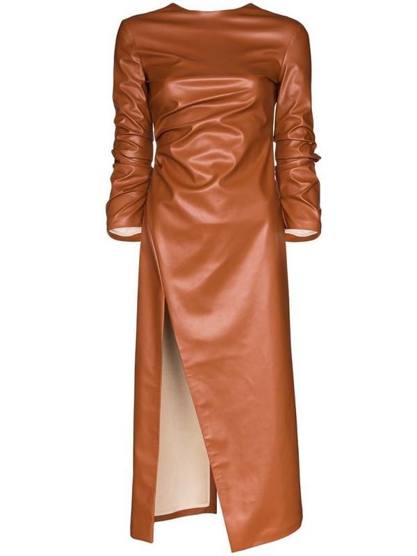 A.W.A.K.E. Mode faux leather midi dress in brown