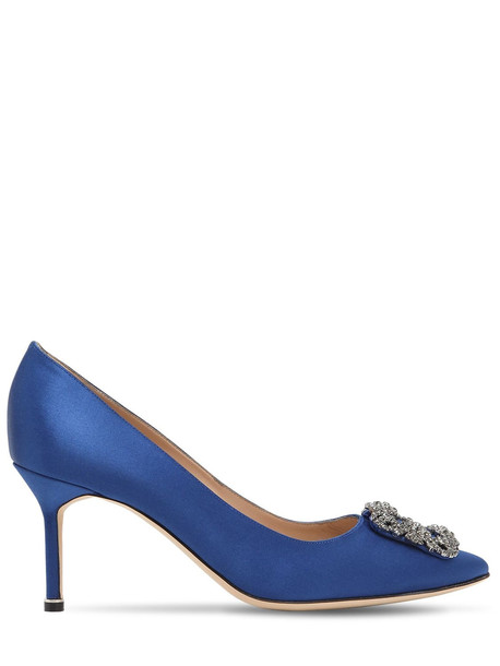MANOLO BLAHNIK 70mm Hangisi Swarovski Silk Satin Pumps in blue