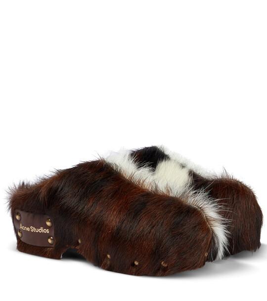 Acne Studios Fur mules in brown