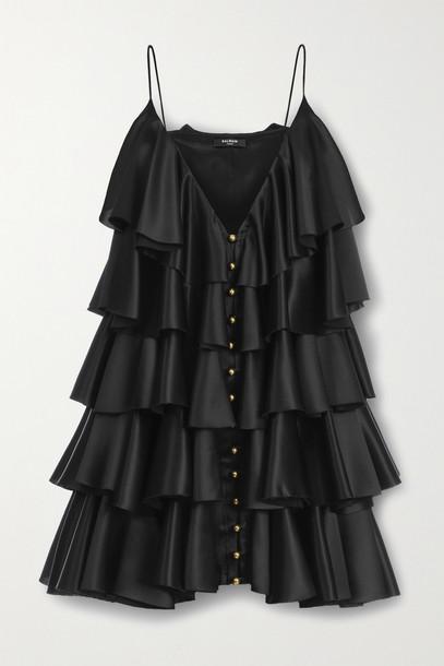 BALMAIN - Tiered Ruffled Silk-satin Mini Dress - Black