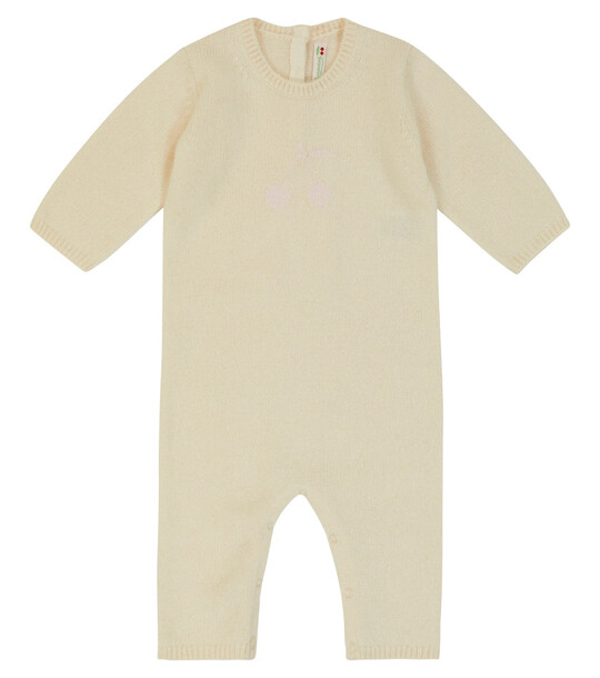 Bonpoint Baby intarsia-knit cashmere romper in white