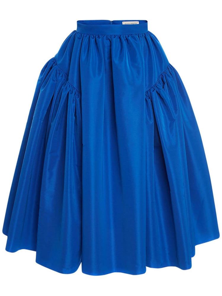 ALEXANDER MCQUEEN Aille A Line Midi Skirt in blue