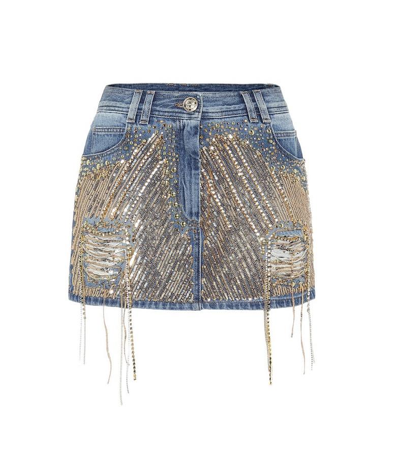 Balmain Embellished denim miniskirt in blue