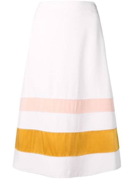 Marni striped A-line skirt in white