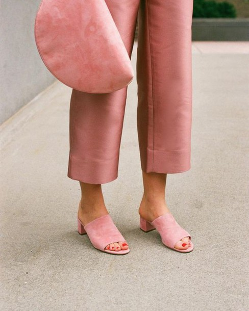 shoes mules pink dusty pink pink bag all pink everything cropped pants mansur gavriel suede mule pink shoes pants pink pants bag