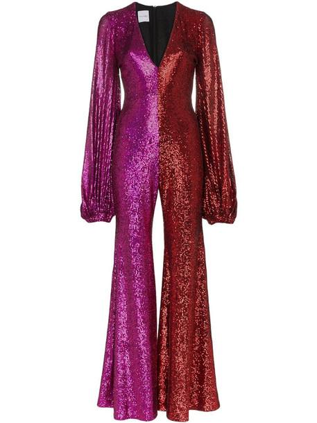 Halpern Allino V-neck bell sleeve jumpsuit in pink