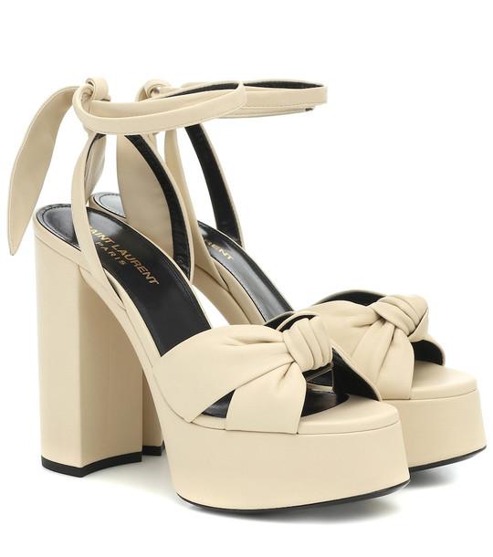 Saint Laurent Bianca 125 leather plateau sandals in beige