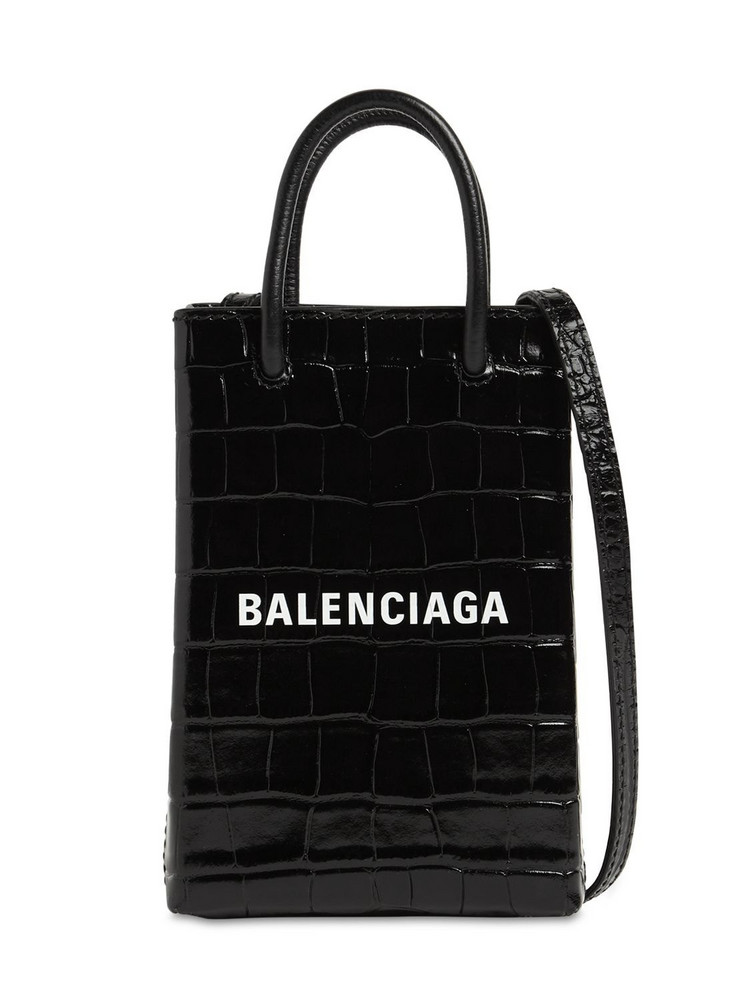 BALENCIAGA Shopping Embo Leather Phone Holder Bag in black