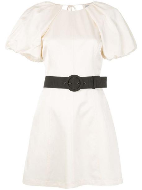 Rebecca Vallance Winona puff-sleeved mini dress in white