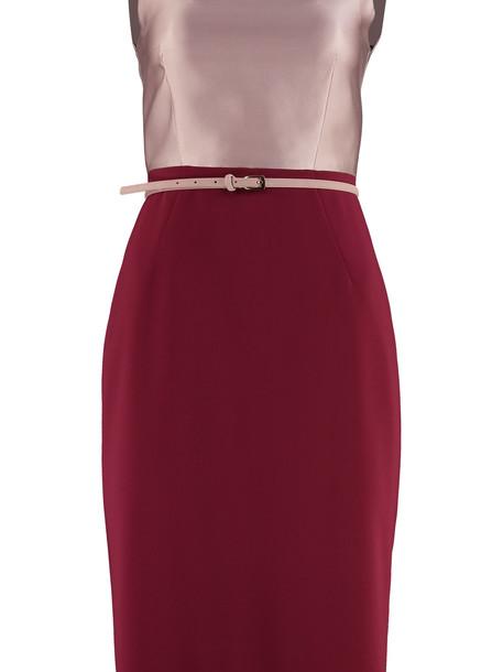 Max Mara Studio Fiorito Belted Sheath Dress in red