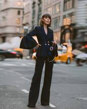 jacket,blazer,double breasted,black pants,wide-leg pants,handbag,velvet