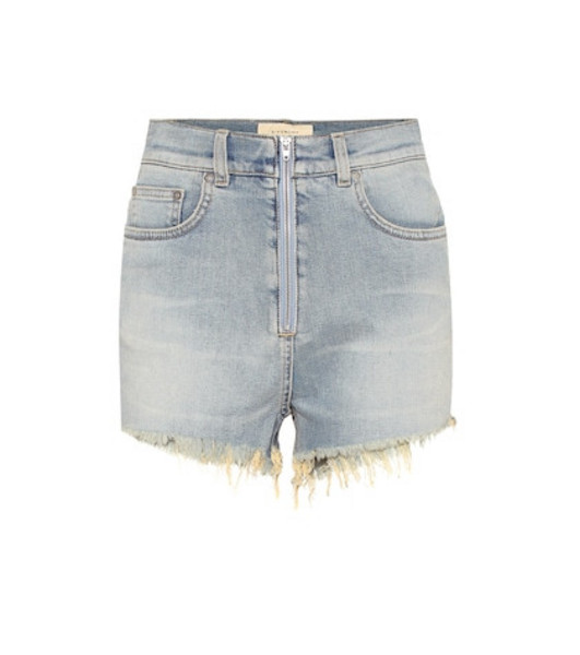 Givenchy High-rise denim shorts in blue